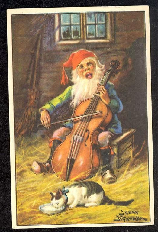Jenny Nyström. Kerstkaart. De Kerstman speelt de cello. 1937