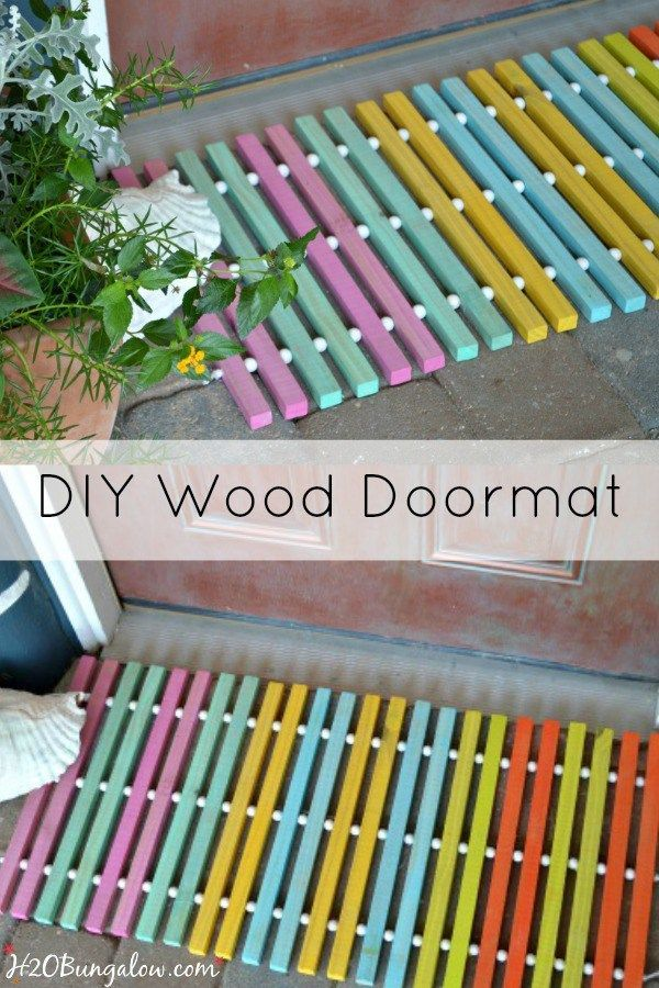I made this colorful DIY wood doormat for the One Power Tool Challenge. See 12 more star bloggers share beginner wood projects with a drill all linked here.