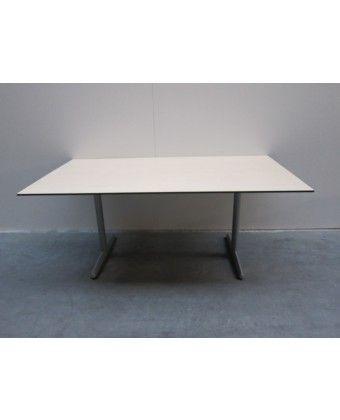 tafel: evt al vergadertafel, of 4 stuks naast elkaar als grote bureaus, aan beide kanten kan iemand werken