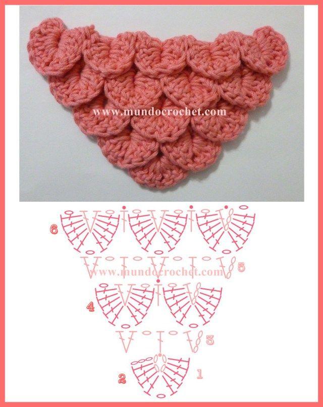 Como tejer el punto cocodrilo o escama a crochet o ganchillo patron o diagrama aumentos
