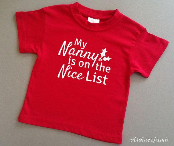 Nanny Nice List Christmas T Shirt,Christmas Gift Ideas,Grandmother Gifts,Nanny Gift,Grandparent Gift,Grandma,Christmas Shirt,Nana Gift,Nanna