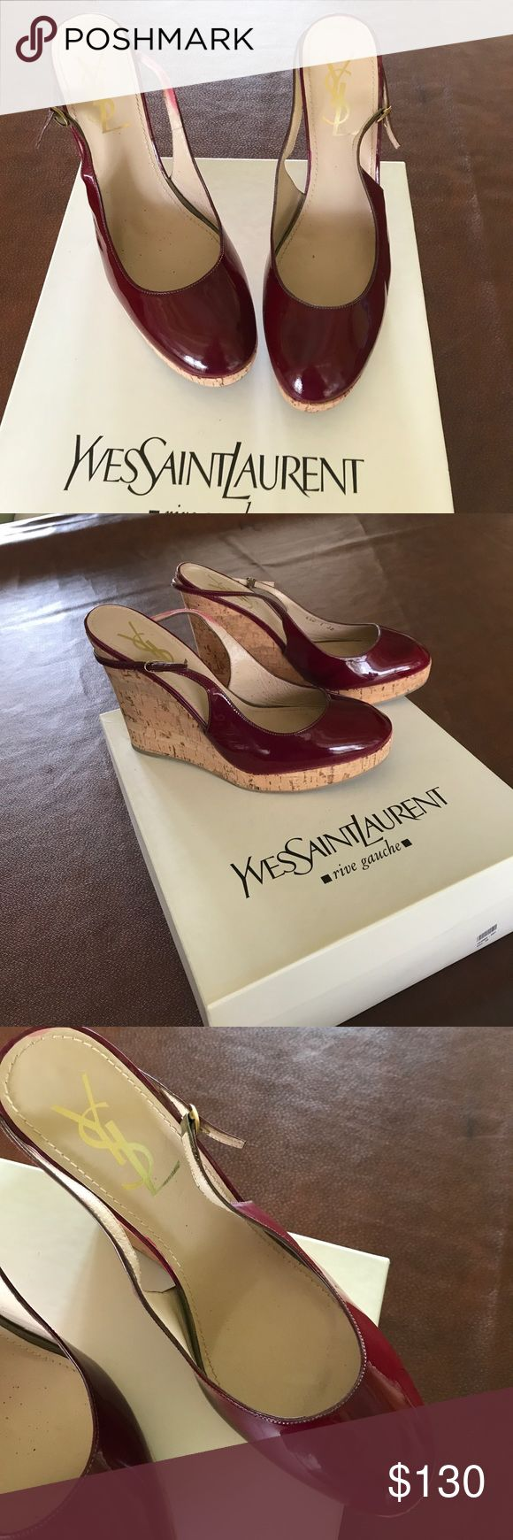 YesSaintLaurent Wedge 👠 Red patent leather shoes with cork wedge heels. New with tags, purchased on sale for $315 reduced from $530.  Not perfect, they have scratches but need to see up close to spot them. Yves Saint Laurent Shoes Wedges