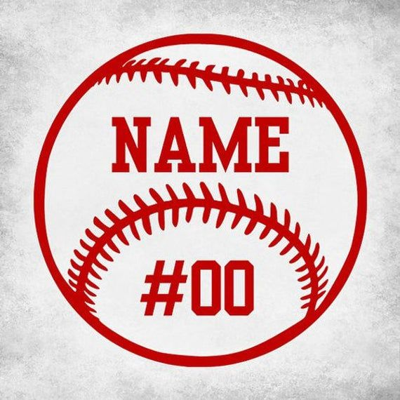 Baseball Softball Custom Number Name Vinyl Car Decal Bumper Window Sticker Any Color Multiple Sizes Jenuine Crafts In 2020 Baseball Vinyl Decal Car Decals Vinyl Baseball Decals