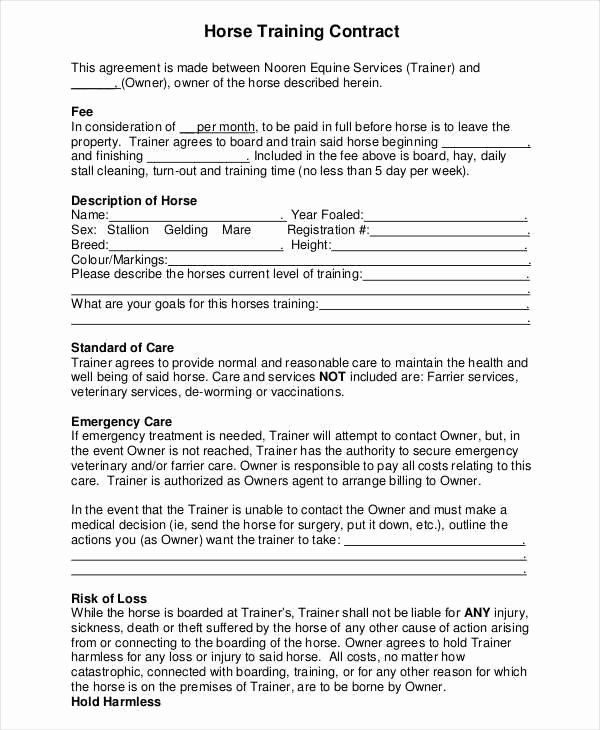 Dog Training Contract Template In 2020 Contract Template Horse