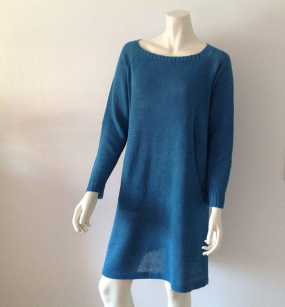 Turquoise coloured dress knitted with linen/cotton by Made4Umnn