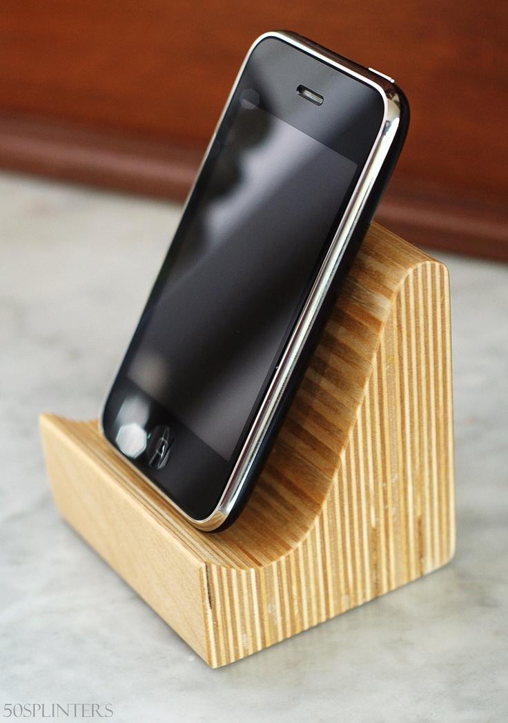 iPhone speaker dock in Baltic Birch Plywood. $15.00, via Etsy.