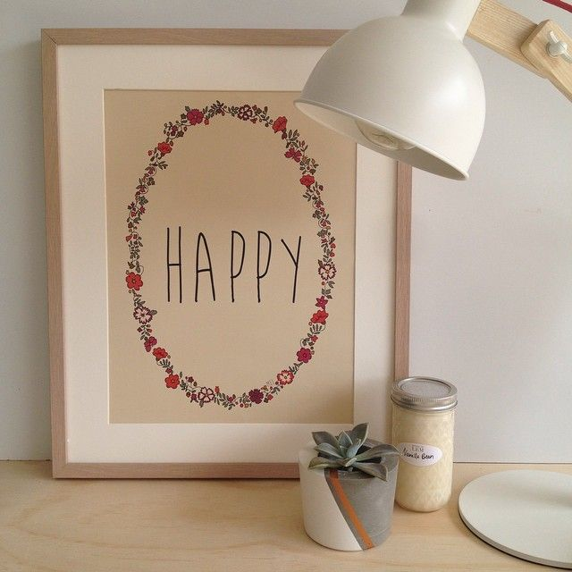 H A P P Y // Another gorgeous print by the lovely @minimelinsta // shop www.tleafcollections.com.au #happy #wallart #prints #home #homeinspo #interior #design #succulents #soycandles #houseoflem #belushihm #tleafcollections