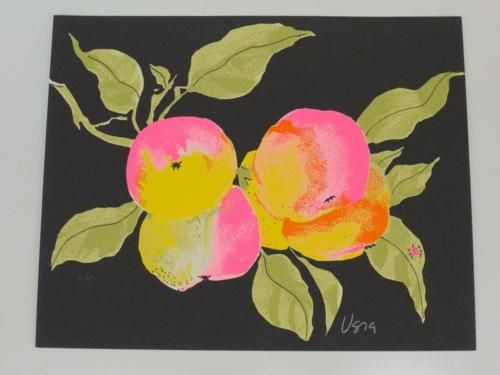 Original Signed VERA NEUMANN Ladybug FRUITS Water Color INK Painting