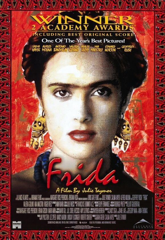 Frida is a 2002 American biopic drama film directed by Julie Taymor. It depicts the professional and private life of the surrealist Mexican painter Frida Kahlo. It stars Salma Hayek in her Academy Award-nominated portrayal as Kahlo and Alfred Molina as her husband, Diego Rivera. The movie was adapted by Clancy Sigal, Diane Lake, Gregory Nava and Anna Thomas from the book Frida: A Biography of Frida Kahlo by Hayden Herrera. https://en.wikipedia.org/wiki/Frida