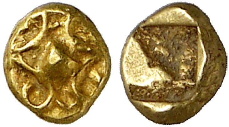 EL Forty-Eighth Stater, Milesian standard. Greek Coin, Ionia, Early Coinage in Electrum. 0,27g. R! EF. Price realized 2011: 850 USD.