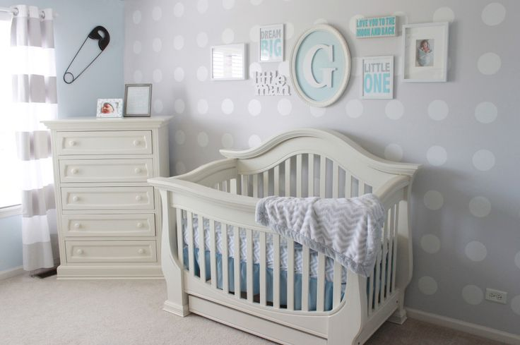 This simple, clean nursery features an adorable DIY'd polka dot accent wall that was created using shelf liner! #DIY #nursery: Polka Dots, Man Nurseries, Blue Wall,  Cot, Projects Nurseries, Accent Wall, Gray Nurseries, Gray Boys Nurseries, Baby Nurseries