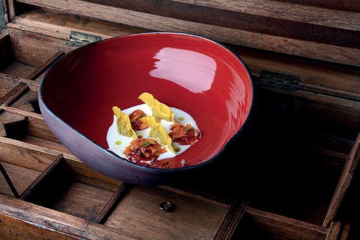 """""""Ravioli di baccalà con trippette e fonduta di pecorino senese"""" dello chef Daniele Sera del Ristorante Tosca di Casole d'Elsa (SI)  #lamadia #lamadiatravelfood #food"""