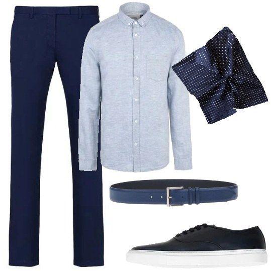 Pantalone a gamba dritta, camicia classica con taschino sul petto sul quale inserire la pochette scelta in abbinamento ai colori dell'outfit, cintura con fibbia in metallo, scarpa stringata con suola in gomma.