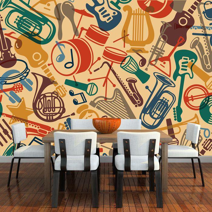 Music Pattern Wall Mural Instruments Photo Wallpaper