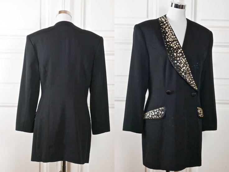 German Vintage Tuxedo Jacket, Black 1980s Double-Breasted Dynasty-Inspired Jeweled Tux Cocktail Jacket w Padded Shoulders: Size 10 US, 14 UK by YouLookAmazing on Etsy