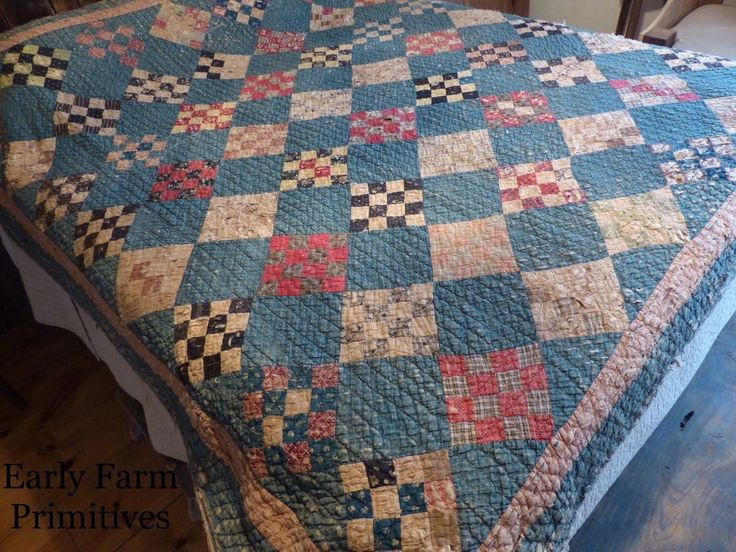 "EARLY ANTIQUE BLUE QUILT WITH ""THE BEST"" BROWN HOMESPUN BACKING #Naiveprimitive"