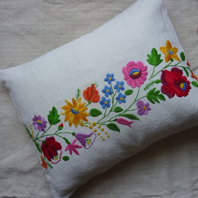 Pretty cushion from antique hand-embroidery To fit with 50 x 40cm filler Filler available for an additional pound 7 including extra postage for UK