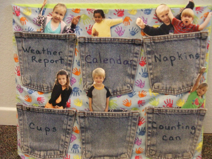 Preschool job chart made with jeans pockets and pictures of the children glued onto large craft sticks.