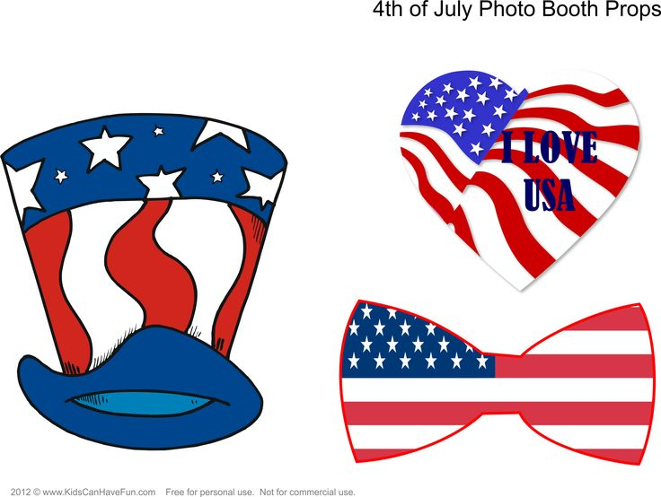 4th of July Photo Booth Props Page 1 http://www.kidscanhavefun.com/photo-booth-props.htm #4thofJuly #photobooth #props