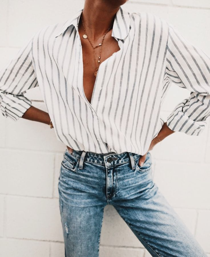 fbade618 denim and striped button up blouse | Fashion and Outfit Inspiration ...