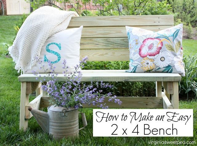 Learn how to Make an Easy and Comfortable 2x4 Bench. virginiasweetpea.com