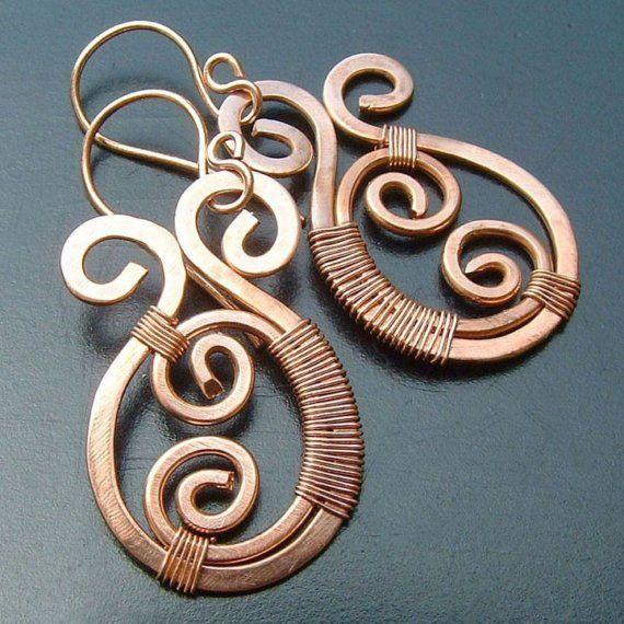 Cobre pendientes cobre alambre Envuelva pendientes por ArtistiKat                                                                                                                                                     Más