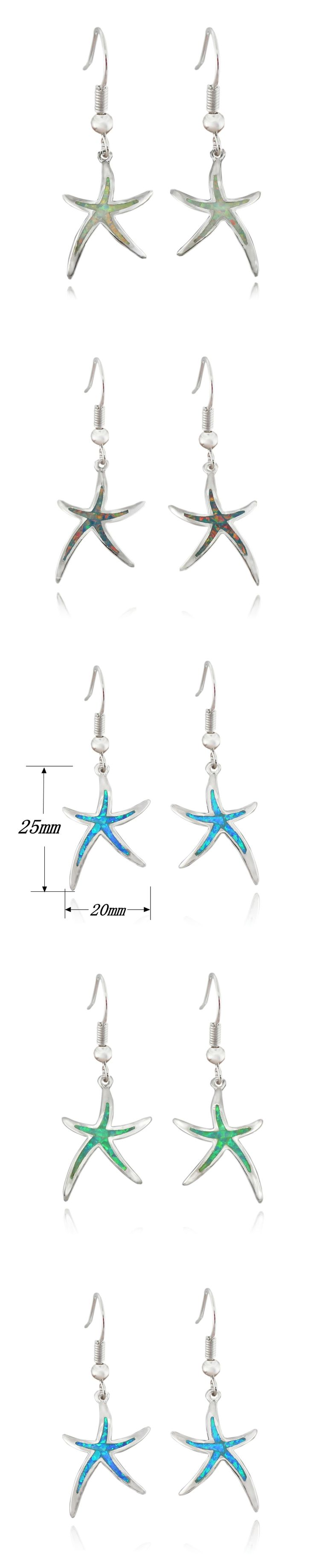 Hot Sale Free Shipping Synthetic Blue Brown White Green Fire Opal Star starfish Ear Stud Earrings For Women OE263