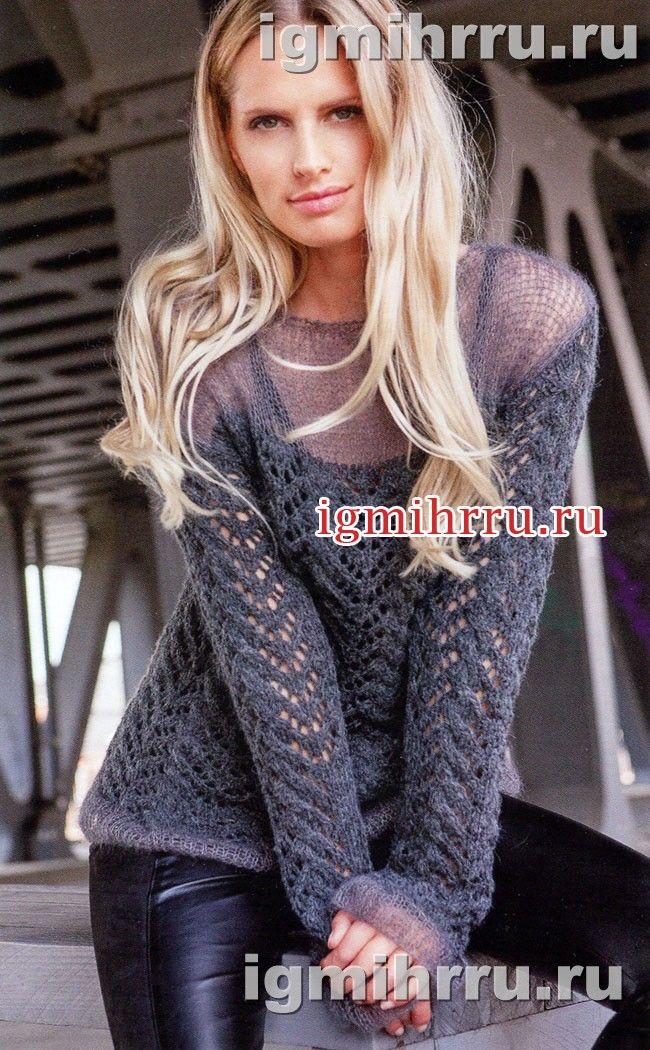 Серый пуловер с ажурным узором. Вязание спицами
