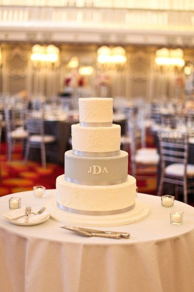 monogrammed cake. Beautifully simple and eloquent!