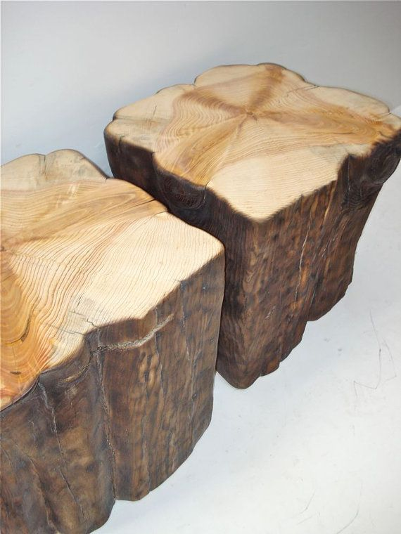 I want these wood tree stumps as side tables so very badly.