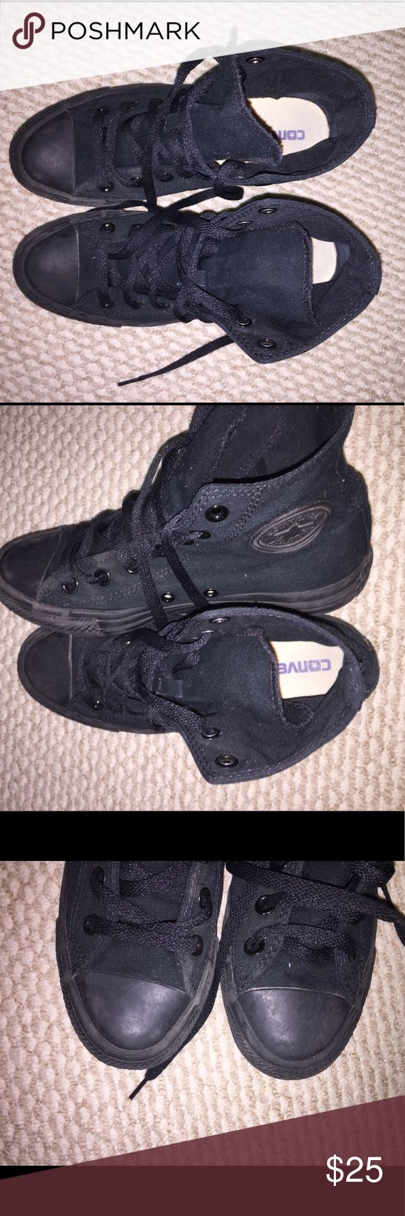Black High Top Converse All Black High Top Converse. Worn a few times with a few scuffs. Men's 5 Women's 7 Converse Shoes Sneakers