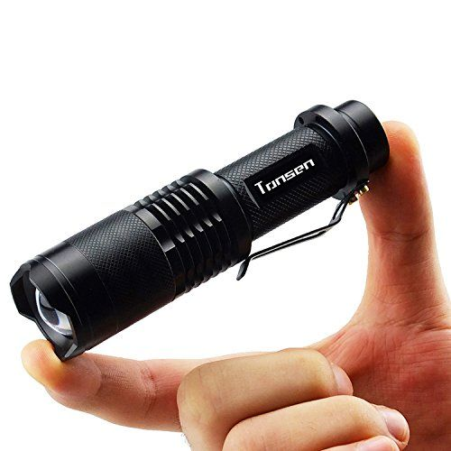 Tonsen Outdoor Waterproof Tactical LED Flashlight,5 Modes Mini Flashlights,18650 Rechargeable Battery And Charger Included,Black