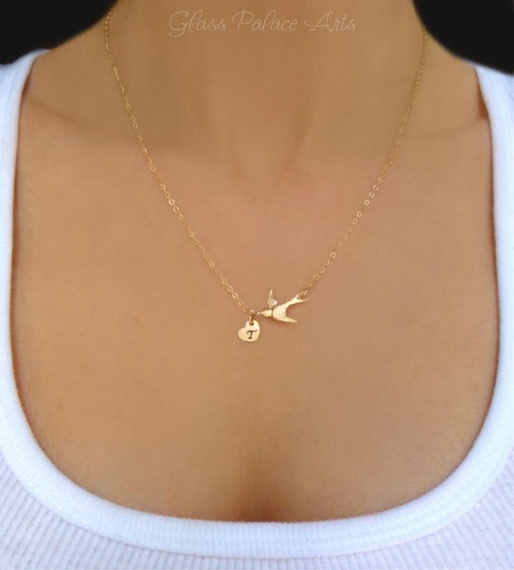 Hand Stamped Necklace - Personalized Bird Necklace - Gold or Silver