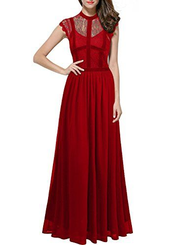ThaliaDress Long Lace Sheer Neck Retro Royal Style Formal Evening Dress T286LF Red US6