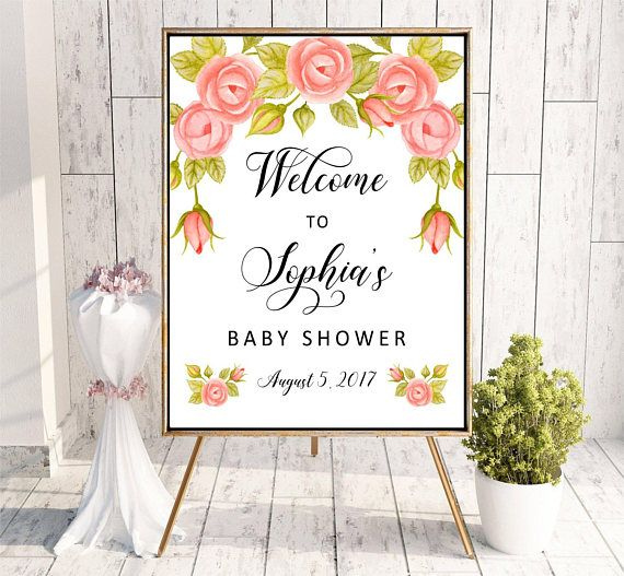 Welcome to Baby Shower sign Roses Printable Digital