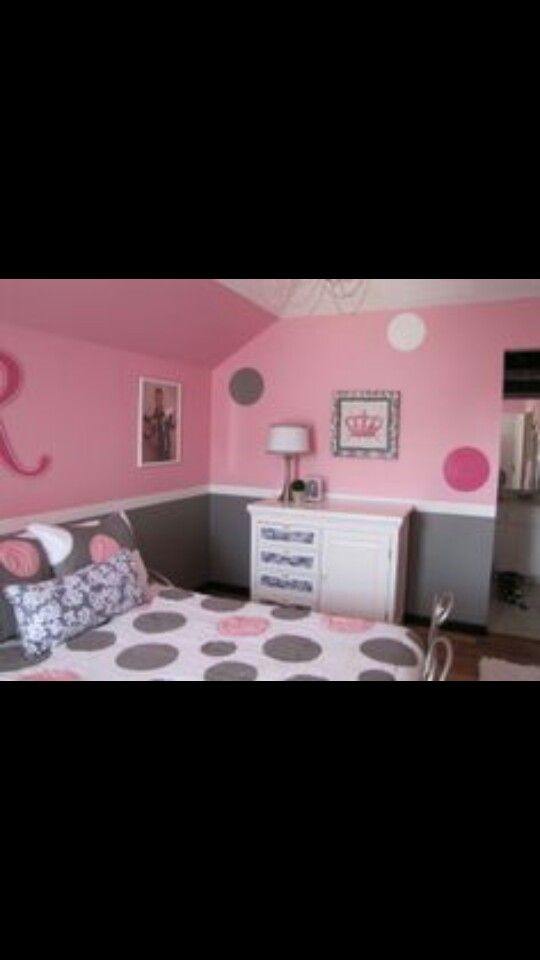 pretty in pink pink and gray girls bedroom the dresser was converted from a changing table to a dresser with some wood filler fabric and