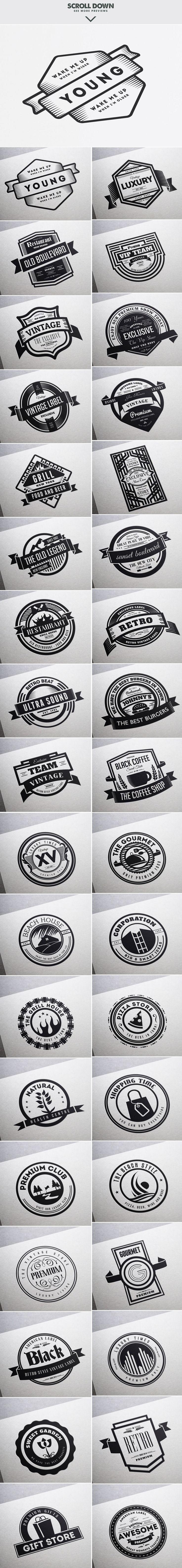 MASSIVE BUNDLE 576 Vintage Logos by DesignDistrict on @creativemarket