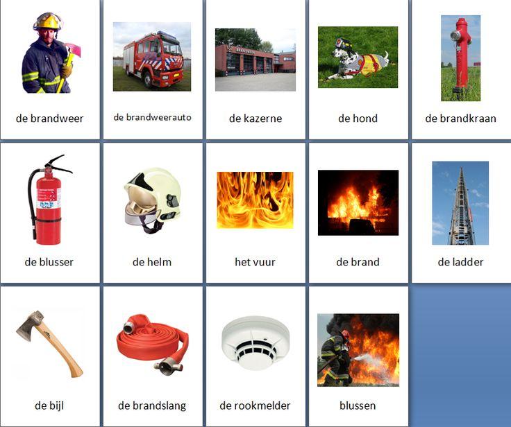 Grote themakaarten voor het thema brandweer, we hebben voor vele thema's grote en kleine themakaarten op de website van Juf Milou.