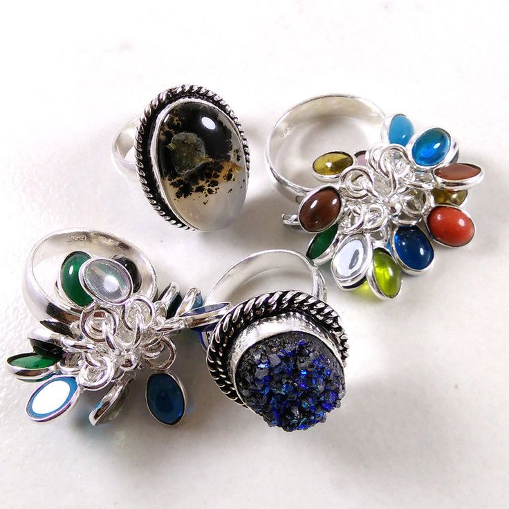Wholesale Lot 4 PCs Blue Druzy,Dendritic Agate Gemstone 925 Silver Plated Rings #Unbranded #Rings