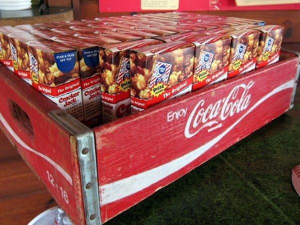 Cracker Jacks in an old coke crate for a baseball themed party #baseball #party #boy