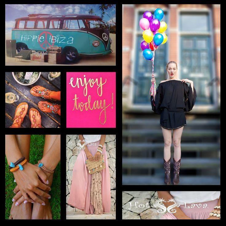 Het is tijd voor Hot Lava! De zon is weer aan het schijnen, weg met die winterkleding, welkom zomer kleding! Op de foto links zie je Floortje in de Hippie Metal tuniek zwart € 89,-, slippers rechts Buli Africa € 79,-, leer turkoois armbanden € 9,95, dip dye skirt roze € 78,- www.tootz.nl Altijd gratis verzending, We Love it! #hotlava #tootz #hippie #ibiza #ibiza2015 #fashion #style #look #chick #boho #models #buli #sandals #bohemian