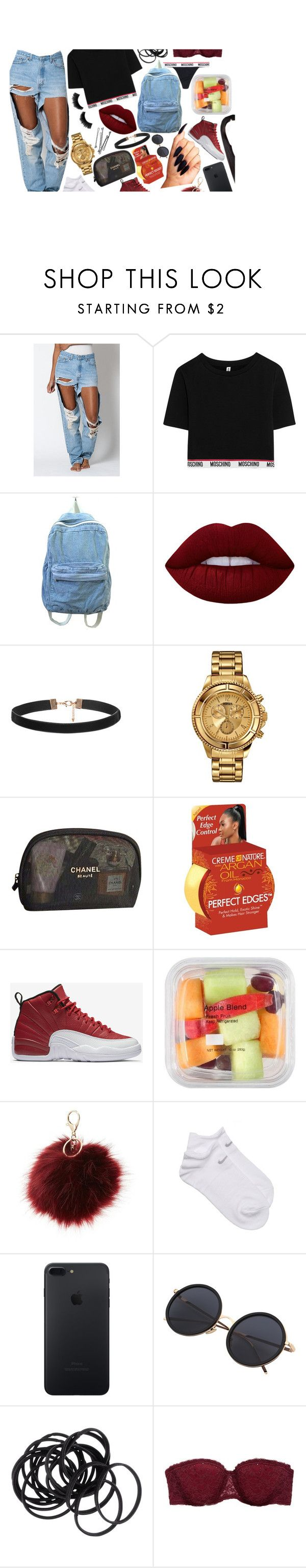 """""""#juspostingdraftscusidgaf"""" by d-etr0it ❤ liked on Polyvore featuring beauty, Levi's, Moschino, Lime Crime, Versus, Chanel, Creme of Nature, BOBBY, NIKE and Charlotte Russe"""
