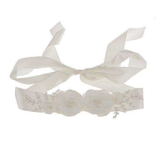 Cinturón Correa de Marco Flor Perla de Imitación Vestido de Nupcial Dama Honor Accesorios Boda - 3