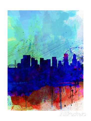 Portland Watercolor Skyline Print by NaxArt at AllPosters.com