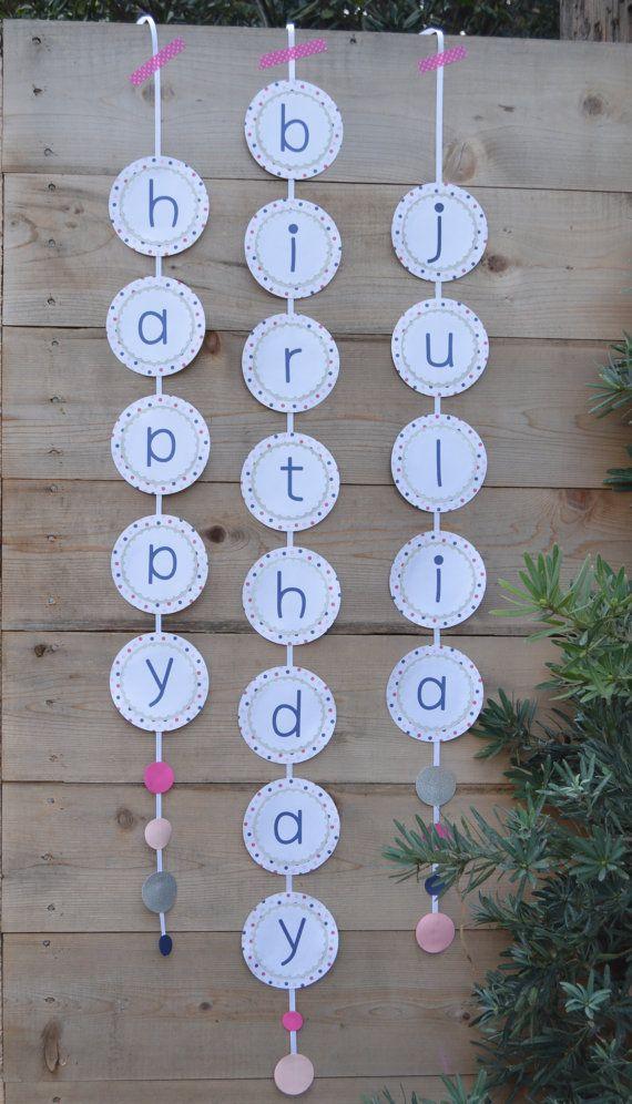 Polka Dot Happy Birthday Banner Happy by BunnyKissDesigns on Etsy