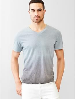 Beach slub dip-dye V-neck t-shirt