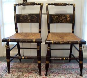 Beautiful Pair Of Antique Sheraton Hitchcock Chairs W Rush Seatsebay