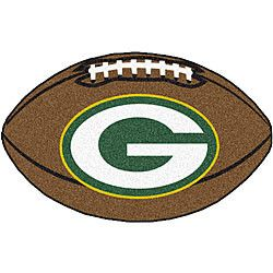 Green Bay Packers football shaped rug