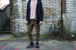 Ross Manning - American Apparel Pink Cable Knit Sweater, Globe Navy Parka, Publish Khaki Jogger, Vans Plaid Sk8 Hi - Two Years Later