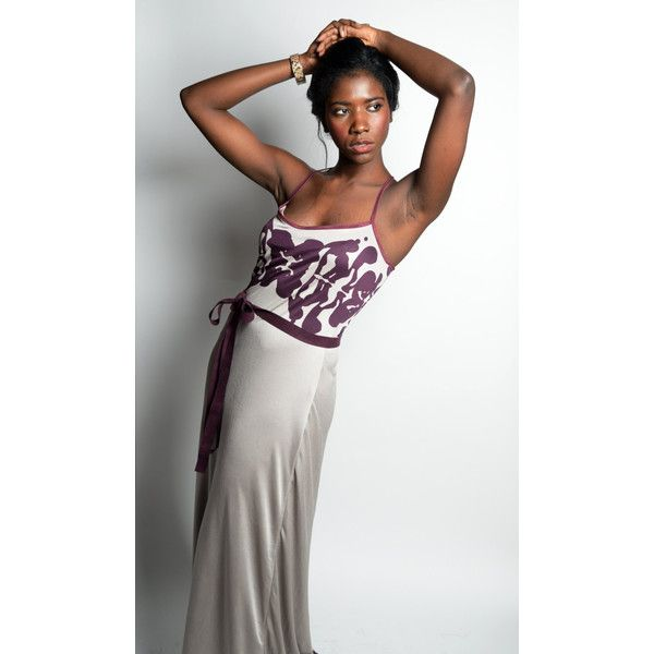Silk Jersey Racerback Maxi Dress Rorschach Print Gray and Purple Full... (€205) ❤ liked on Polyvore featuring dresses, balconette bra, gray maxi dress, cami shelf bra, camisole shelf bra and grey maxi dress